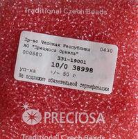 Бисер №38998, №10, Preciosa (Чехия), розовый прокрашенный серебром, прозрачный