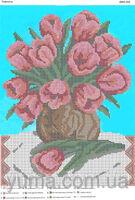 Тюльпаны, ЮМА-393 схема-рисунок полноцветная на атласе для частичного вышивания бисером
