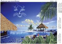 Райское наслаждение, ЮМА-385 схема рисунок на атласе для частичной вышивки бисером