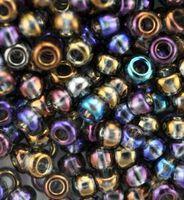 Бисер №41010, №10, Preciosa (Чехия), серо-фиолетовый радужный, полупрозрачный