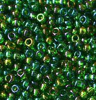 Бисер №51120, №10, Preciosa (Чехия),зелёный радужный, прозрачный