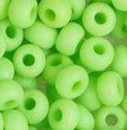 Бисер №53410 matt, №10, Preciosa (Чехия), зелёный салатовый матовый натуральный, непрозрачный