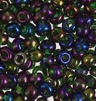 Бисер №54270,№10, Preciosa (Чехия),тёмно-зелёный радужный, непрозрачный