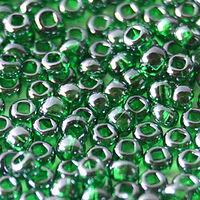 Бисер №56060, №10, Preciosa (Чехия), тёмно-зеллёный глянцевый, прозрачный