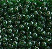Бисер №56120, №10, Preciosa (Чехия), зелёный тёмный глянцевый, прозрачный