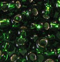 Бисер №57120, №10, Preciosa (Чехия), зелёный блестящий, полупрозрачный