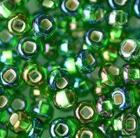 Бисер № 57129,№10, Preciosa(Чехия), зеленый, радужный, блестящий, прозрачный
