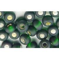 Бисер №57150, №10, Preciosa (Чехия), тёмно-зеленый блестящий матовый, прозрачный