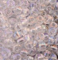 Бисер №58205, №10, Preciosa (Чехия), белий радужний глазурированний, прозрачный