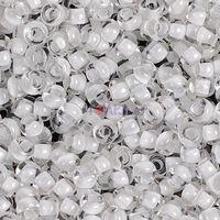 Бисер №58502, №10, Preciosa (Чехия), белый прокрашенный радужный, прозрачный