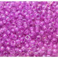 Бисер №58525, №10, Preciosa (Чехия), розово-сиреневый прокрашенный радужный, прозрачный