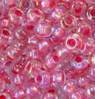 Бисер №58598, №10, Preciosa (Чехия), розово-бордовый радужный, прозрачный