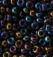 Бисер №59205, №10, Preciosa (Чехия), тёмно-синий бензиновый радужный перламутровый, непрозрачный