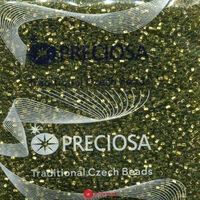 Бисер №59430, №10, Preciosa (Чехия), оливково-зеленый с бронзовой серединкой,прозрачный