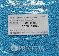Бисер № 64020, №10, Preciosa (Чехия), сине-голубой радужный натуральный, непрозрачный