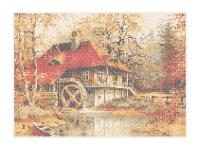 Водяная мельница, К-1  схема-рисунок на габардине для вышивки бисером №10, формат А-3