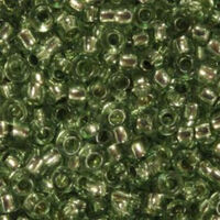 Бисер №78163, №10, Preciosa (Чехия), серо-зеленый с серебренной серединкой,прозрачный