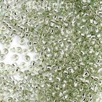 Бисер №78263, №10, Preciosa (Чехия),  светло-зеленый с серебряной серединкой, прозрачный