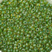 Бисер №81012, №10, Preciosa (Чехия), янтарный со светло-зелёным прокрасом, прозрачный