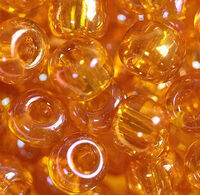 Бисер №81060, №10, Preciosa (Чехия), оранжевый радужный, прозрачный