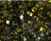 Бисер №87761, №10, Preciosa (Чехия), зелёно-бирюзовый с огоньковым прокрасом, прозрачный