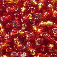 Бисер №87797, №10, Preciosa (Чехия), красно-жёлтый с блестящей серединкой, прозрачный