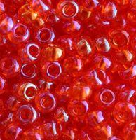 Бисер №91030, №10, Preciosa (Чехия), красно-оранжевый радужный, прозрачный