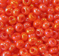 Бисер №94140, №10, Preciosa (Чехия), тёмно-оранжевый радужный, непрозрачный