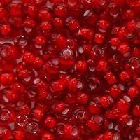 Бисер №95076, №10, Preciosa (Чехия), красный мелованный, прозрачный