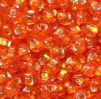 Бисер №97030, №10, Preciosa (Чехия), тёмно-оранжевый блестящий, прозрачный