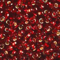 Бисер №97070, №10, Preciosa (Чехия), красный блестящий, прозрачный