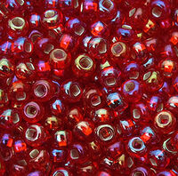Бисер №97079, №10, Preciosa (Чехия), красный насыщенный блестящий радужный, прозрачный