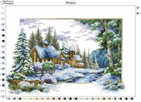 Зима, ТП-011 схема-рисунок для вышивки бисером №10 на атласе