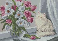 Бисер заготовка вышивка А3-084 Кошка на окне