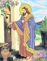 А4-031 Иисус стучится в дверь -  схема с рисунком для частичной вышивки бисером на габардине формат А-4