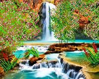 Весенний водопад, АК3-082 схема-рисунок полноцветная на атласе для частичного вышивания бисером