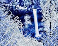 Зимний водопад, АК3-087 схема-рисунок полноцветная на атласе для частичного вышивания бисером