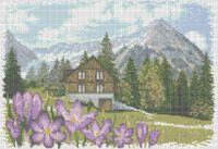 Альпийские горы схема для вышивки бисером на ткани А3-0218