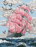 Алые паруса, К-42 схема с рисунком на габардине для полной вышивки бисером
