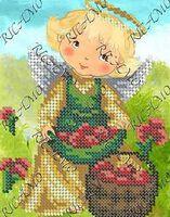 Ангелочек с ягодами БКР-5143 схема с рисунком для частичной вышивки бисером на габардине
