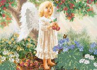 Ангелочек в саду схема для вышивки бисером на ткани А3-0087