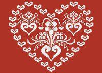 Ажурное сердце схема для вышивки бисером на ткани А3-0410