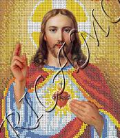 Святейшее сердце Иисуса Христа А3-4023 схема с рисунком для полной вышивки бисером №10 на габардине