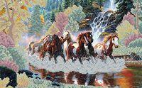 Бегущие кони, ЮМА-37 схема - рисунок для вышивки бисером на атласе формат А-3