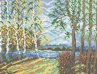 Березки. Пейзаж, схема для вышивки бисером на ткани А4-0162