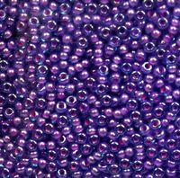 Бисер №61016, №10, Preciosa (Чехия), голубой прокрашенный с оттенками розового и фиолетового, прозрачный