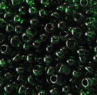 Бисер №50060, №10, Preciosa (Чехия), тёмно-зелёный, прозрачный