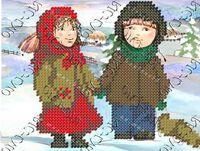 Бисер заготовка вышивка БК-5075 Дети зимой