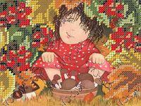 Девочка в лесу бисер заготовка вышивки БК-5093