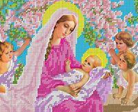 Богородица с младенцем и ангелами схема для вышивки бисером на ткани БА4-047